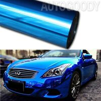 "12"" x 60"" Blue Chrome Mirror Vinyl Film Wrap Sticker Decal Stretchable 1ft x 5ft"
