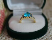 Antique Jewellery Gold Ring With Blue Topaz Vintage Art Deco Jewelry P 8