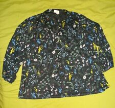 NEW with tags H&M X ANNA GLOVER TUNIC TOP size L black floral 16 18 loose light