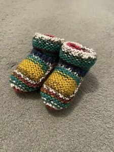 NEW - HAND KNITTED BABY BOOTEES - MIXED MULTI - NEWBORN -