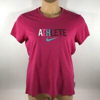 Nike Dri Fit Women's Large L T-Shirt Graphic Athlete Pink Cotton Tee EUC