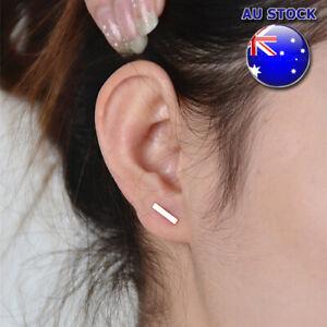 Solid 18K Gold Platd Punk Daliy wear Tiny Bar Minimalism Style Stud Earring