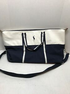 RALPH LAUREN Polo Blue & White Duffle/Travel/Overnight/Weekender/Gym Bag