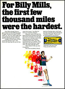 1971 Billy Mills olympic runner Bank of America vintage photo Print Ad ads23