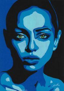 original drawing А4 25BJ art samovar acrylic female portrait Signed 2020