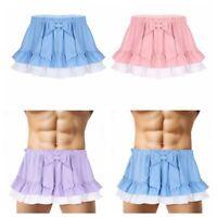 Men Women Mini Skirt High Waist A-line Short Hem Underwear Sexy Frilly Nightwear