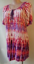 New Autograph size 16 purple red border print long top NWT