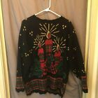 UGLY CHRISTMAS Sweater Pullover Holiday Time Womens Large Candles Black Red Gold