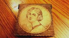 Vintage Folk Art Box Carved Etched Portrait of Woman Signed