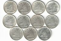 11 X CANADA TEN CENTS DIMES KING GEORGE VI .800 SILVER COINS 1940 -1949 CANADIAN
