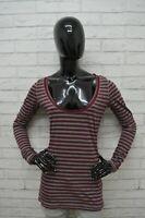 Maglia ABERCROMBIE Donna Taglia M Maglietta Shirt Woman Righe Manica Lunga Slim