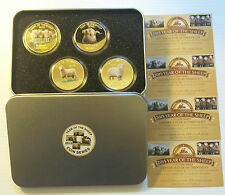 2015 Year Of The Sheep,  4 x 1 Oz Coins with C.O.A. Finished in 999 24k Gold