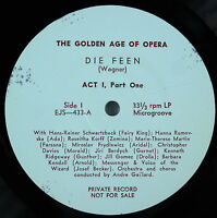 Wagner: Die Feen /Gaillard-The Golden Age of Opera 2LP Private Record EX