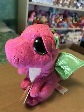 "Ty DARLA -Pink/Green Fabric w/Golden Flecked Glitter Dragon 6"" Beanie Boo!"