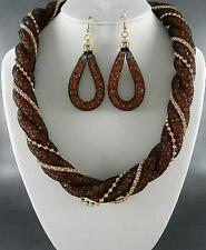 Black Mesh Link Filled With Brown Bead Twisted Gold Tone Link Necklace Earring