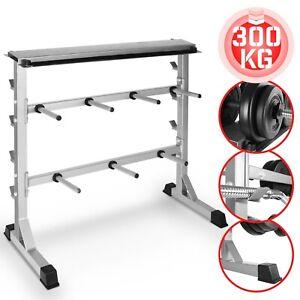 Physionics® Support pour Haltères Rack de Rangement pour Disques et Barres 300kg