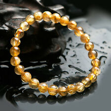 7mm Natural Gold Rutilated Quartz Crystal Round Beads Wealth Bracelet Aaa