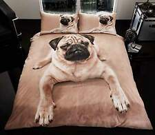 NEW PUG DOG KING SIZE DUVET SET 3D PRINTED DESIGN QUILT COVER AND PILLOW CASES