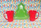 FIESTA WARE NEW SET CHRISTMAS TREE PLATE GREEN & LATTE MUGS RED FREE SHIPPING