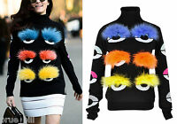Wool Colourful Fox Fur Bug Eye Monster Turtleneck Knitwear Jumper Street Runway