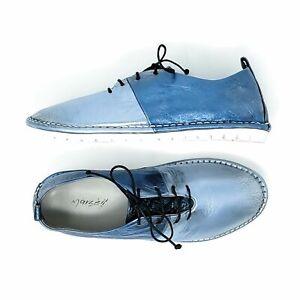 Marsell Sancrispa Leather Lace Up Shoes 36.5 Silver Blue Metallic Flats Womens