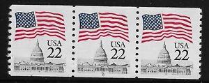 US Scott #2115, Plate #8 Coil 1985 Flag over Capitol 22c VF MNH