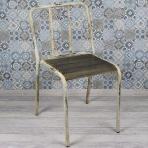 Stacking Vintage Industrial Dining Chair, Metal Frame, Wood Slats, Cafe / Bar
