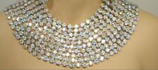 HUGE STATEMENT AB SILVER RHINESTONE NECKLACE SET DRAG QUEEN BRIDAL PAGEANT