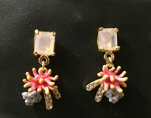 Les Nereides 14ct Gold Plated Enamel coral, diamonte, Stone Earrings  - NEW