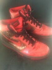 Vintage Womens Red Skinny Sequin Glitter NIKE SB DUNK High Tops Boots Trainers