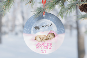 Girl Pink Baby's First 1st Christmas Personalised Gift Present Bauble Tree