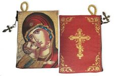 Reversible Sweet Kissing Madonna and Child Cross Tapestry Rosary Icon Pouch Case