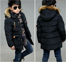 Kids 6-14Y Boys Cotton Padded jackets Parkas fur collar Hooded Coats Outerwear