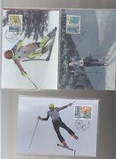 Olympiade Nagano Skifahren 3 Maxikarten Liechtenstein 1998