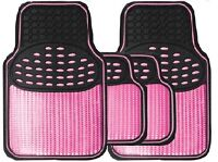 Beautiful Girls Black & Metallic Pink Heavy Duty Rubber Interior Car Floor Mats
