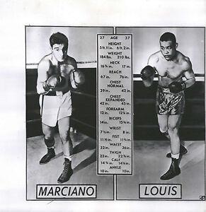 Rocky Marciano vs Joe Louis, (Pre-fight Match-up Card) 8x8 B&W Photo