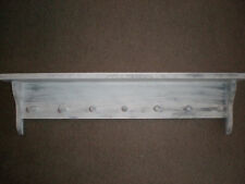 White Weathered Look 7 Peg Shaker Shelf Primitive (Rustic) Wood