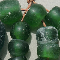 a group of 17 old antique dutch green glass beads senegal and mali 1700s #896