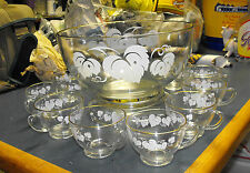 ANCHOR HOCKING CLEAR GLASS WITH GRAPE VINE PUNCH BOWL SET BASE & 10 CUPS