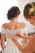 Off Shoulder Dot Tulle Lace Bolero Jacket Cap Sleeve Bridal Wedding Shawl Custom