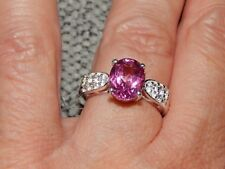 MYSTIC PINK COATED TOPAZ & NATURAL CAMBODIAN ZIRCON RING-SIZE N-3.500 CARATS