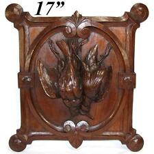 "Antique Carved Oak Black Forest ""Fruits of the Hunt"" Wall Plaque, Two Game Birds"
