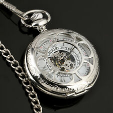 Mechanical Pocket Watch Antique Silver Skeleton Steampunk Fob Analog Chain Men's