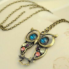Women Vintage Bronze Color Rhinestone OWL Animal Pendant Necklace Long Chain New