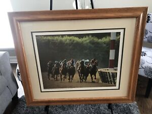 Horse Racing Belmont Stakes Winner Caveat Rebounds Off Rail Photographic Print