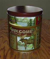 "RUSTIC VINTAGE ""WELCOME FRIENDS"" TIN CANISTER-PERFECT CABIN/LODGE DECOR ITEM"