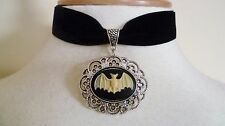 BLACK Velvet Bat Cameo Chocker Medieval Pagan Gothic Bat Pipistrello Collana Ciondolo