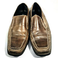 Mens Natha Studio Brown Leather Shoes Loafer Dress Casual Slip On Size 10M [a104