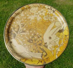 1960s 70s Vintage Fibreglass Tray Rabbit Bird Round Serving Tray Orange Browns