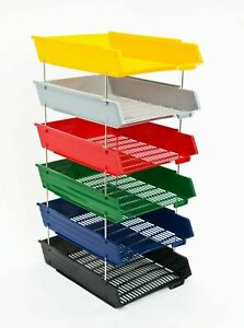 A4 Letter Trays + Risers Desk Document Paper Filing Organiser - Choice of Colour